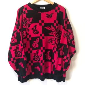 Vintage Hot Pink Checkerboard Rose Knit Sweater